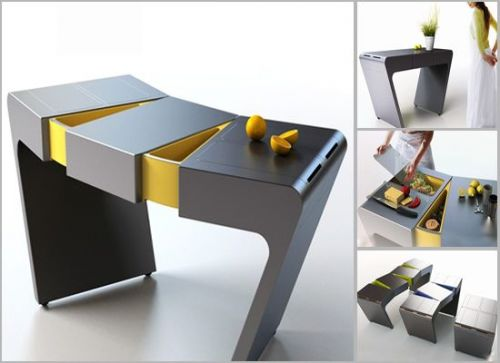 Accordion Folding Cook Table For Small Kitchens