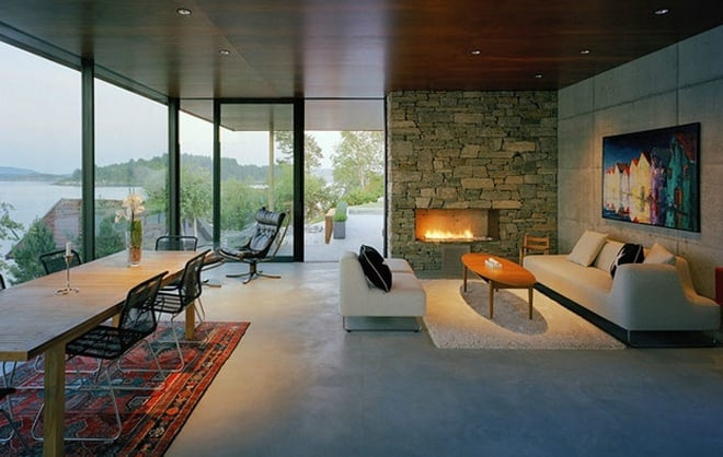 Stone And Glass House With A Great View In Norway