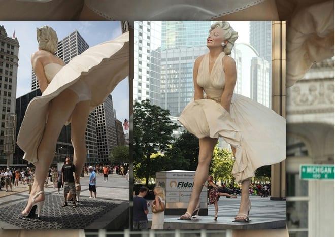 Controversial Urban Underwear Marilyn Monroe Statue Chicago