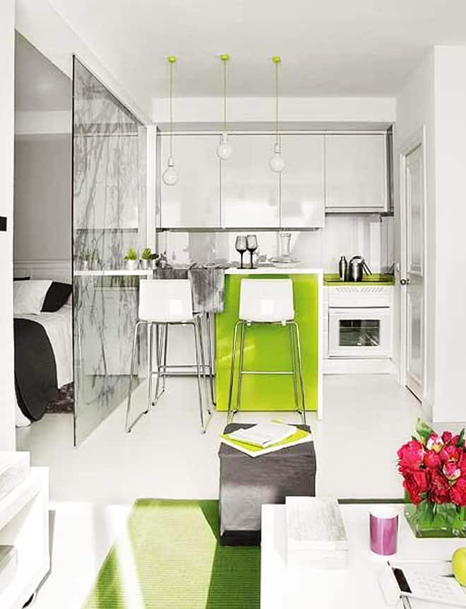 Great interior design of a small 40 square meter apartment for Living room 10 square meters