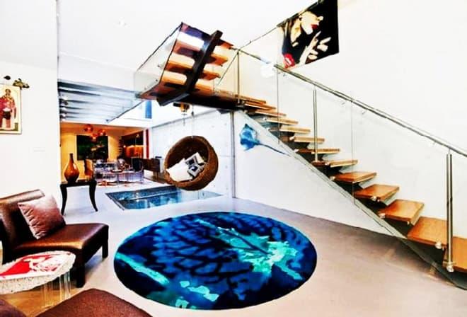 Contemporary Apartment With Aquarium Under Floor Designed In
