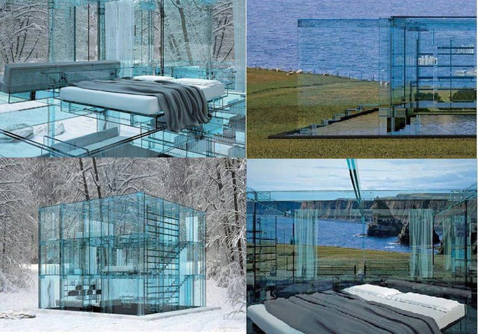 Glass house with glass furniture for All glass house plans