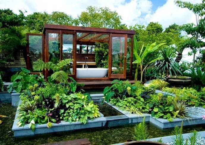 outdoor bathroom in the middle of a tropical garden. Black Bedroom Furniture Sets. Home Design Ideas