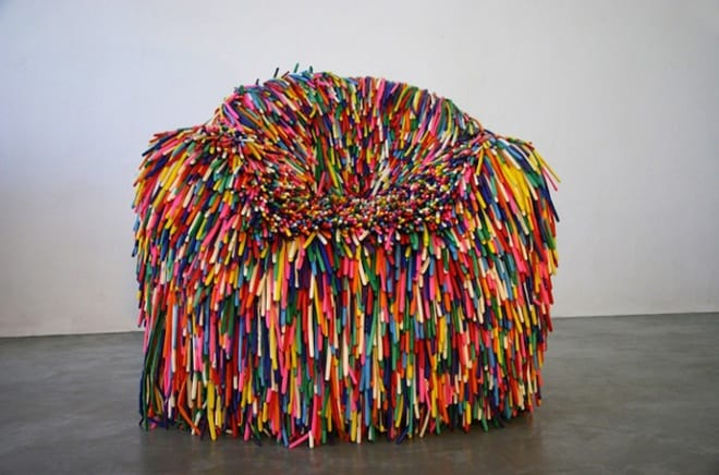 Happy Colorful Chairs Made From Balloons By Pini Leibovich