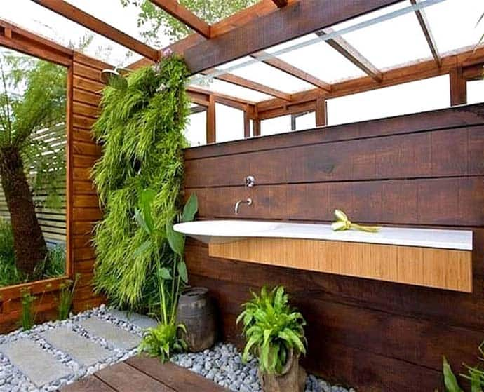 Outdoor Bathroom In The Middle Of A Tropical Garden