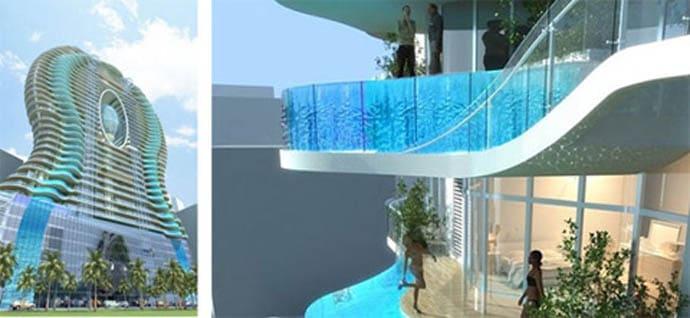 140 Meters Residential Tower Infinity Glass Pools Acting As Balconies