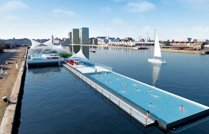 39 Badboot 39 By Sculp It Foating Openair Swimming Pool In Antwerp Belgium