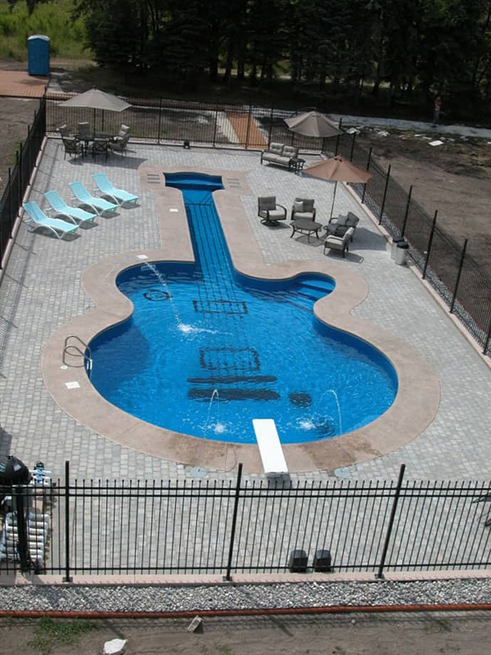 Let S Swim And Play Piano Vs Guitar Shaped Swimming Pool
