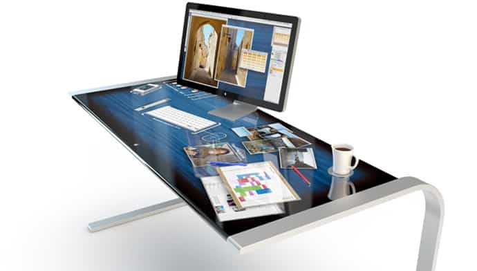 entire touchscreen desk makes your work more efficiently rh designrulz com touch screen desktop pc touch screen desktop display