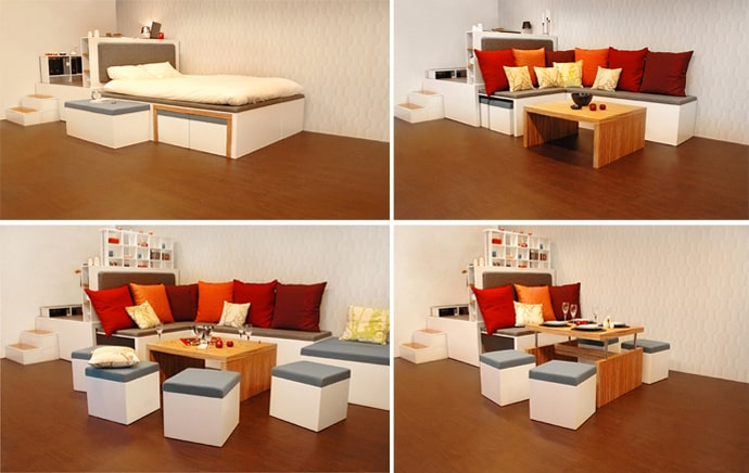 Compact Furniture For Small Apartments Retractable Living Designrulz Matroshka Furniture Compact Living Furniture Perfect For Small Spaces