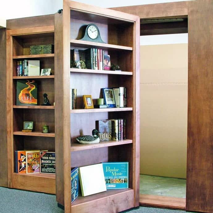 hidden room behind bookcase door. Black Bedroom Furniture Sets. Home Design Ideas