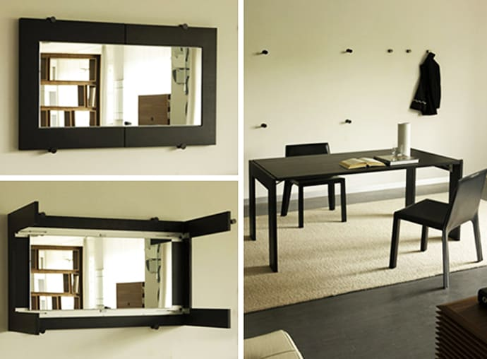 folding dining table turns into a mirror by porada. Black Bedroom Furniture Sets. Home Design Ideas