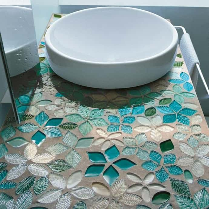 Decoration Ideas Leaves And Flowers Glass Mosaic