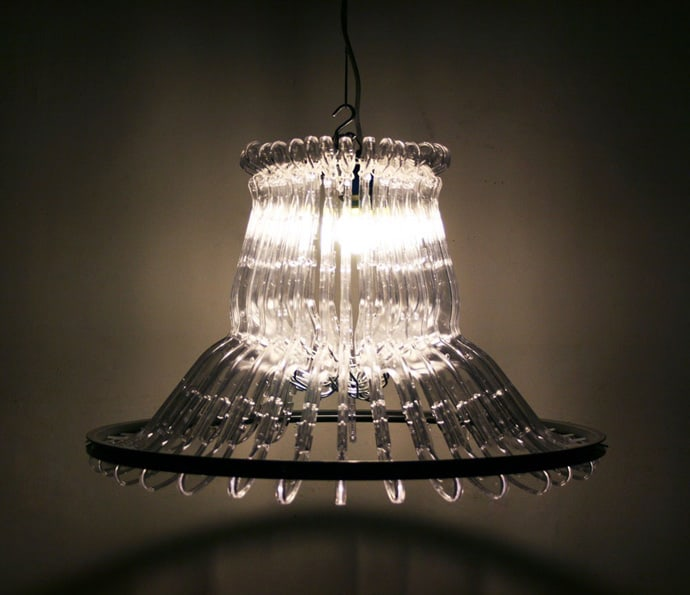 Recycle Creative Lamp Using Wood Or Plastic Clothes Hangers