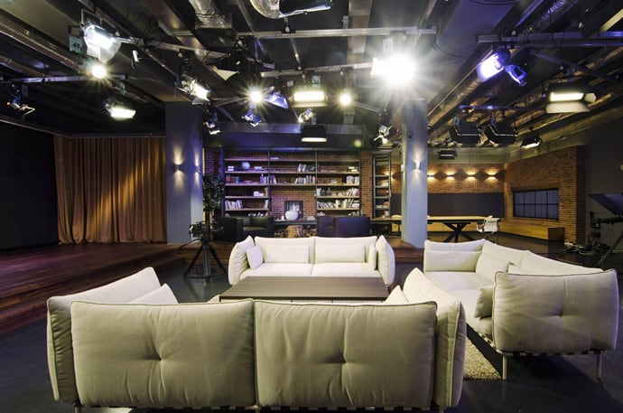 Tvi channel studio designed like a cozy apartment by tseh for The living room channel 10 studio audience