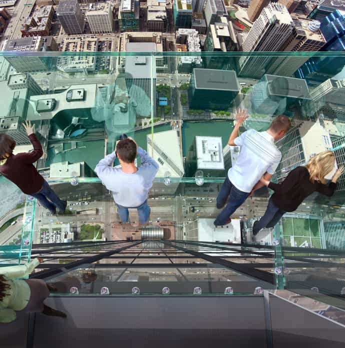 Transparent Balcony On 103 Floor Skyscraper The Sears Tower Chicago