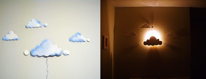 Diy clouds night light - Lamparas de noche infantiles ...