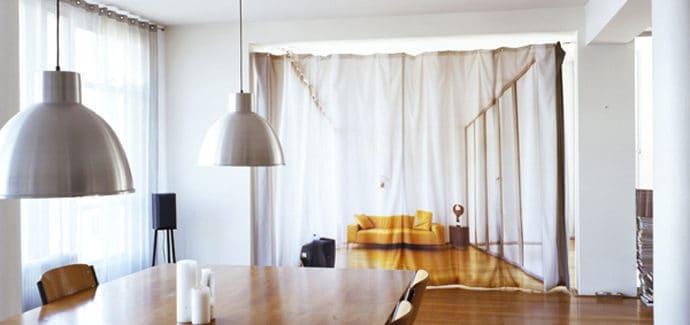 yellow sofa room divider