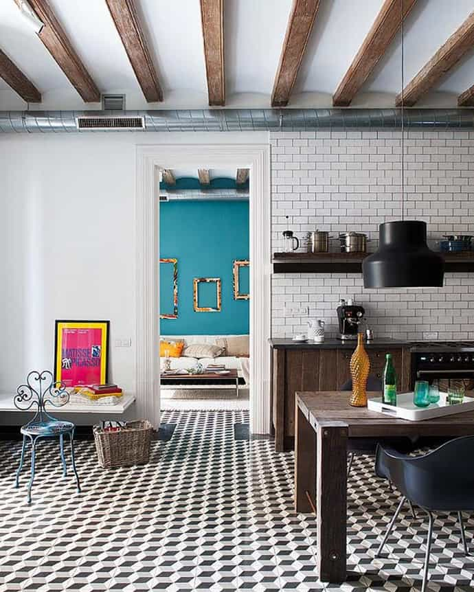 Barcelona style retro modern interior design project by - Baldosa hidraulica cocina ...