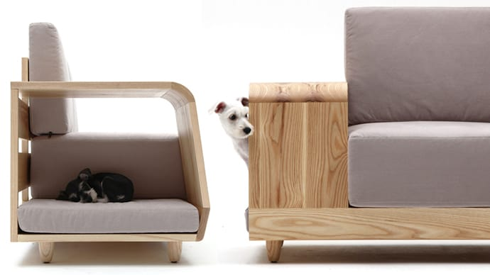 Modern cushioned sofa with dog house attached Dog house sofa