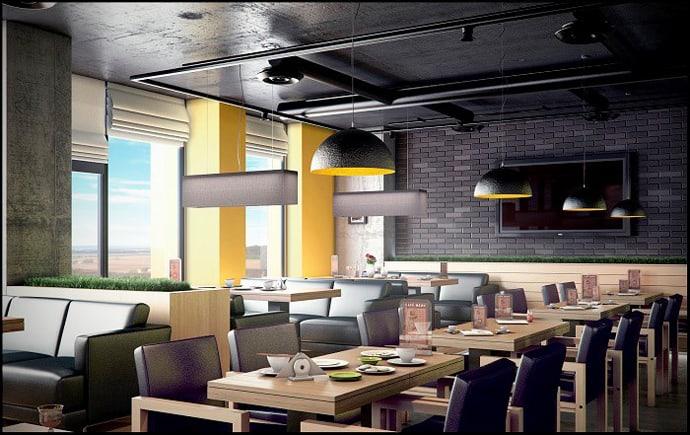 concrete bar restaurant by yunakov studio in kiev ukraine. Black Bedroom Furniture Sets. Home Design Ideas