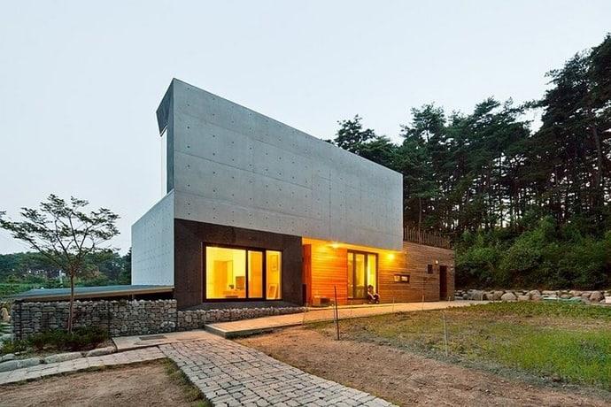 Modern countryside residence in south korea by polymur for Casa moderna corea