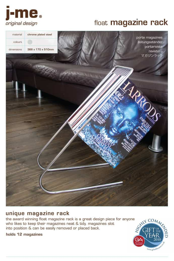 Presentation float magazine rack
