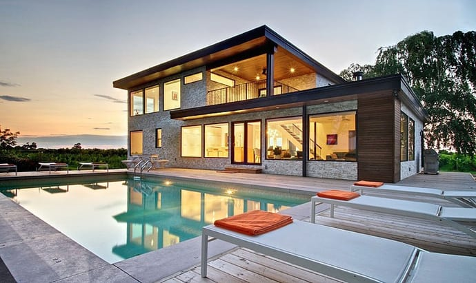 Modern house with electric spots of color ontario canada for Modern home decor grande prairie