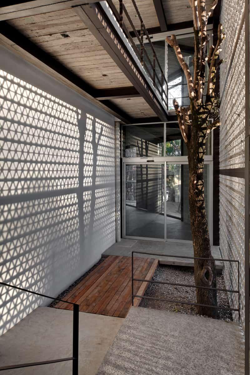 Perforated Concrete Walls La Tallera By Frida Escobedo