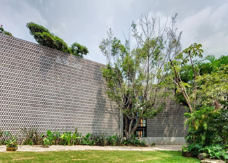 Perforated Concrete Walls La Tallera By Frida Escobedo