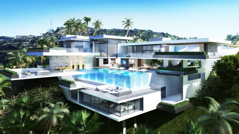 Two Luxury Ultramodern Mansions On Sunset Plaza Drive In LA