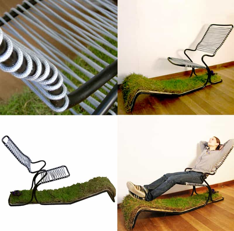 Cute The idea behind the chair was to bring the outside inside As many houses and flats do not have gardens this chair means that the user can rest their feet