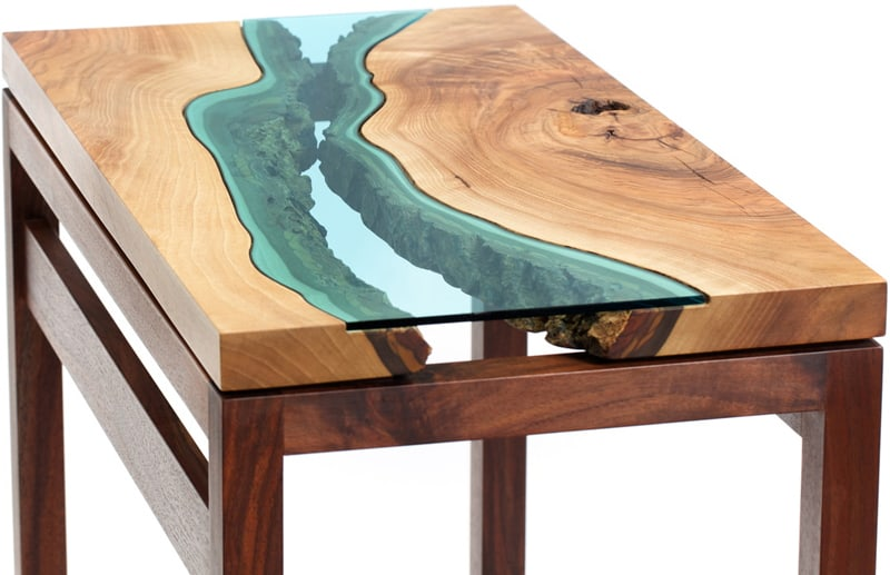 glass rivers and lakes flow across beautiful tables