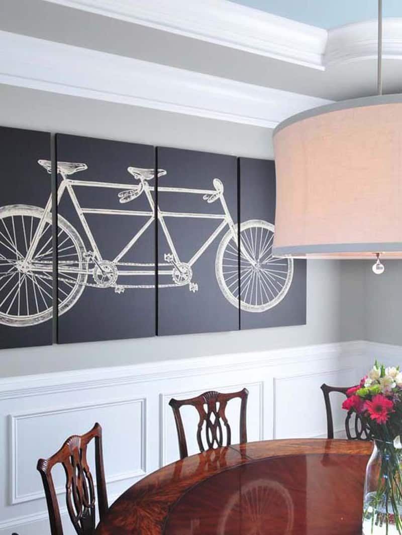 Dining room bicycle triptych.