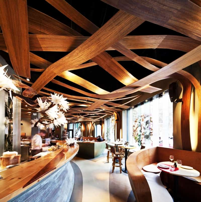 Top restaurant interior designs with wooden walls