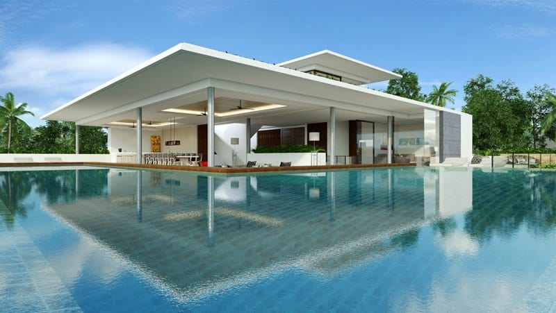 Luxurious villa with an infinity edge swimming pool thailand for Swimming pool design new zealand
