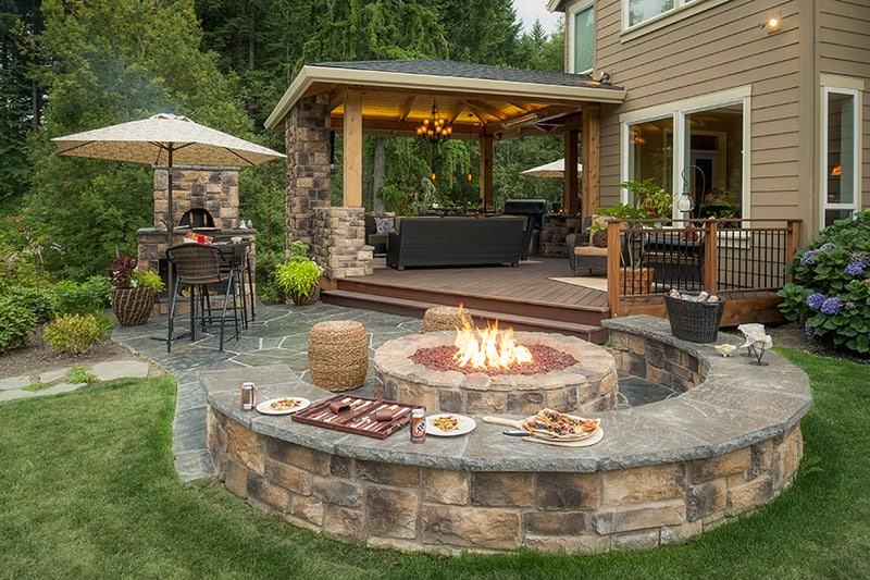 Perfect for Family Enjoyment: Outdoor Fireplace Room on Patio Kitchen id=93659
