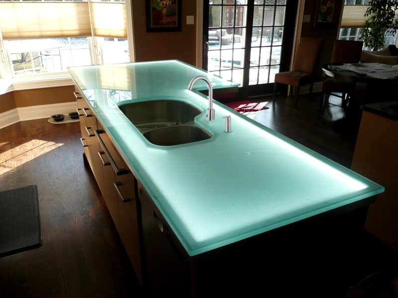 glass kitchen island glass countertop island with led lighting designed by cgd 11887
