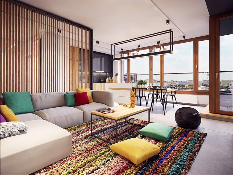 Modern Apartment Design With Colorful Rugs By Plasterlina