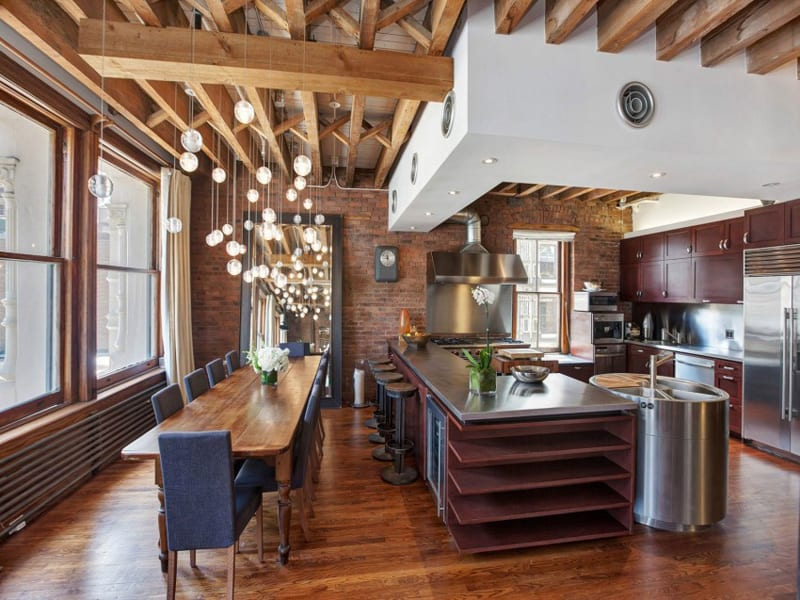 Contemporary SoHo Loft With Exposed Brick And Wood Beams