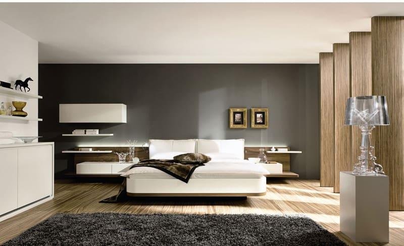 Stunning Wooden Floor White Bed Gray Interior Unique Bed Design