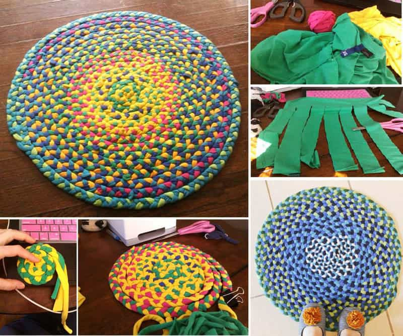 How To Make Fabulous Rainbow Braided Rugs Using Old Clothing