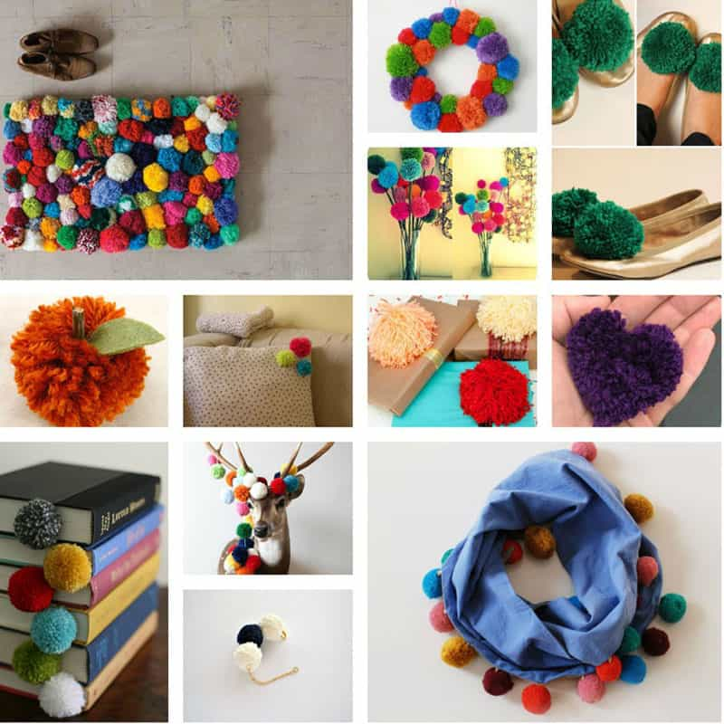 craft ideas with pom poms colorful diy pom pom rug and another creative projects 6342