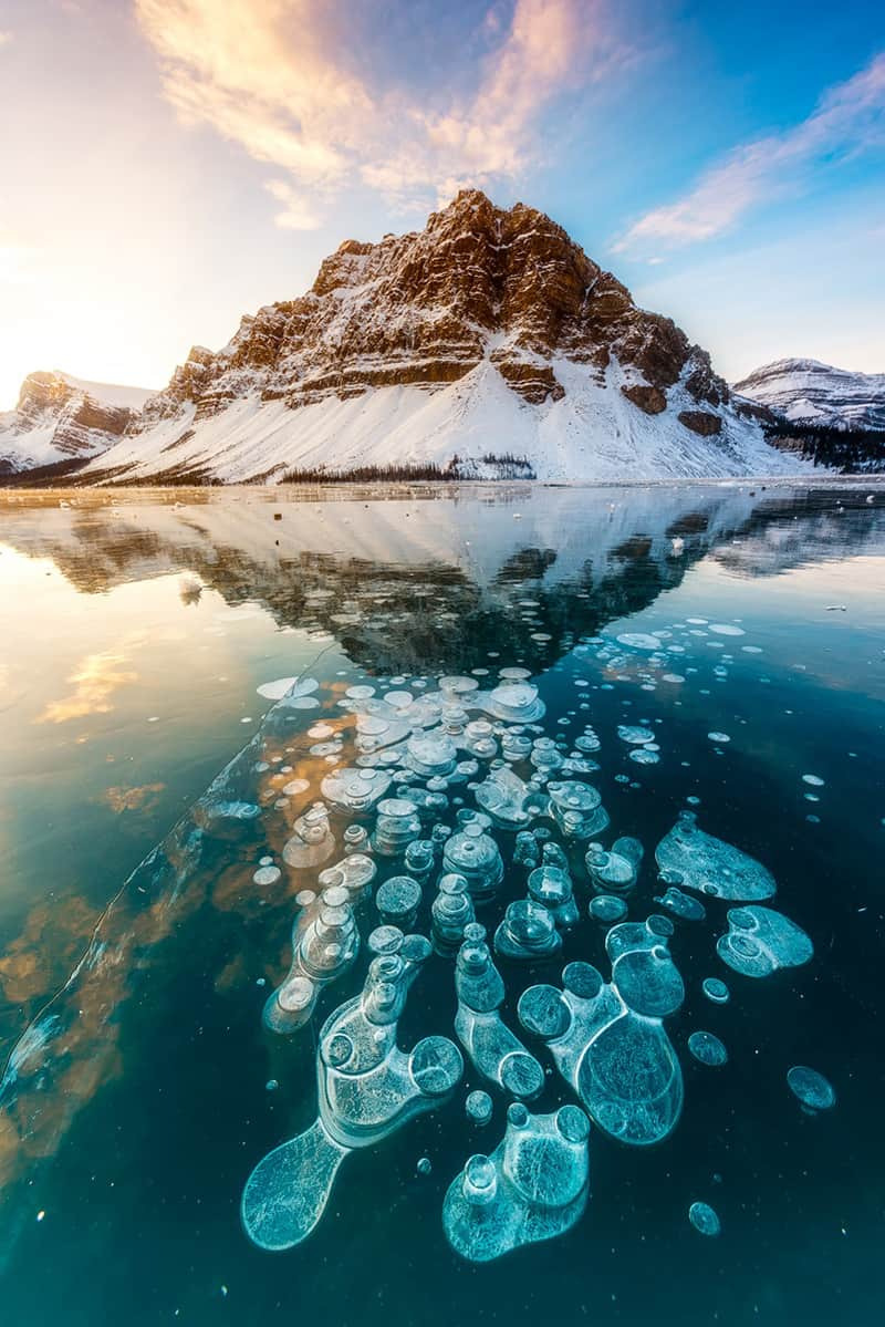 Stunning Frozen Methane Bubbles At Abraham Lake Canada
