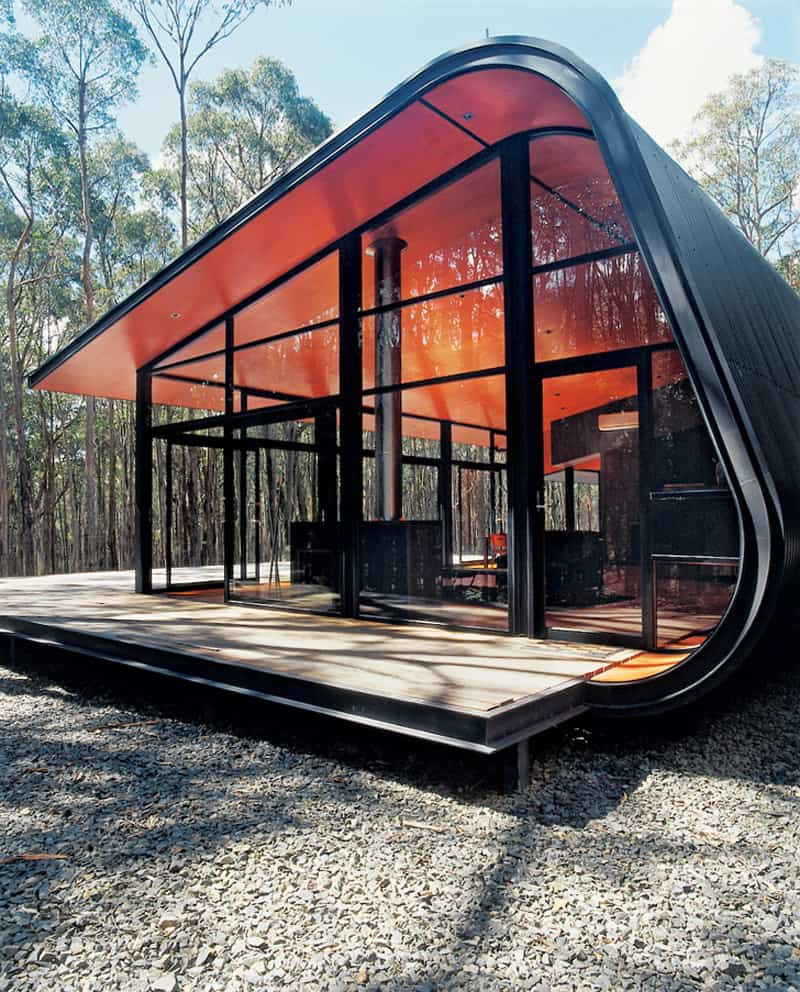 Futuristic pod home by jesse judd architects melbourne for Coffee shop exterior design ideas