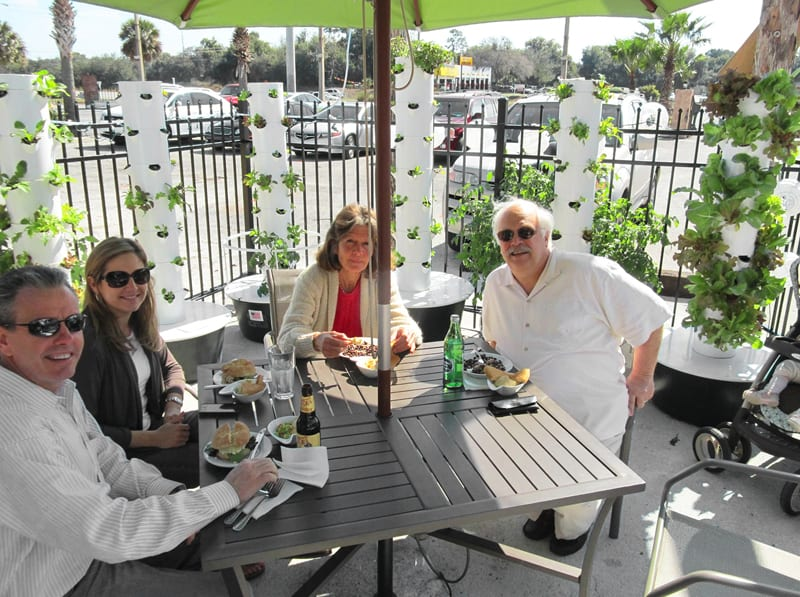 Customers enjoy their outdoor lunch surrounded by Future Growing