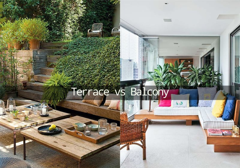 Difference between a terrace and a balcony for Apartment design with terrace