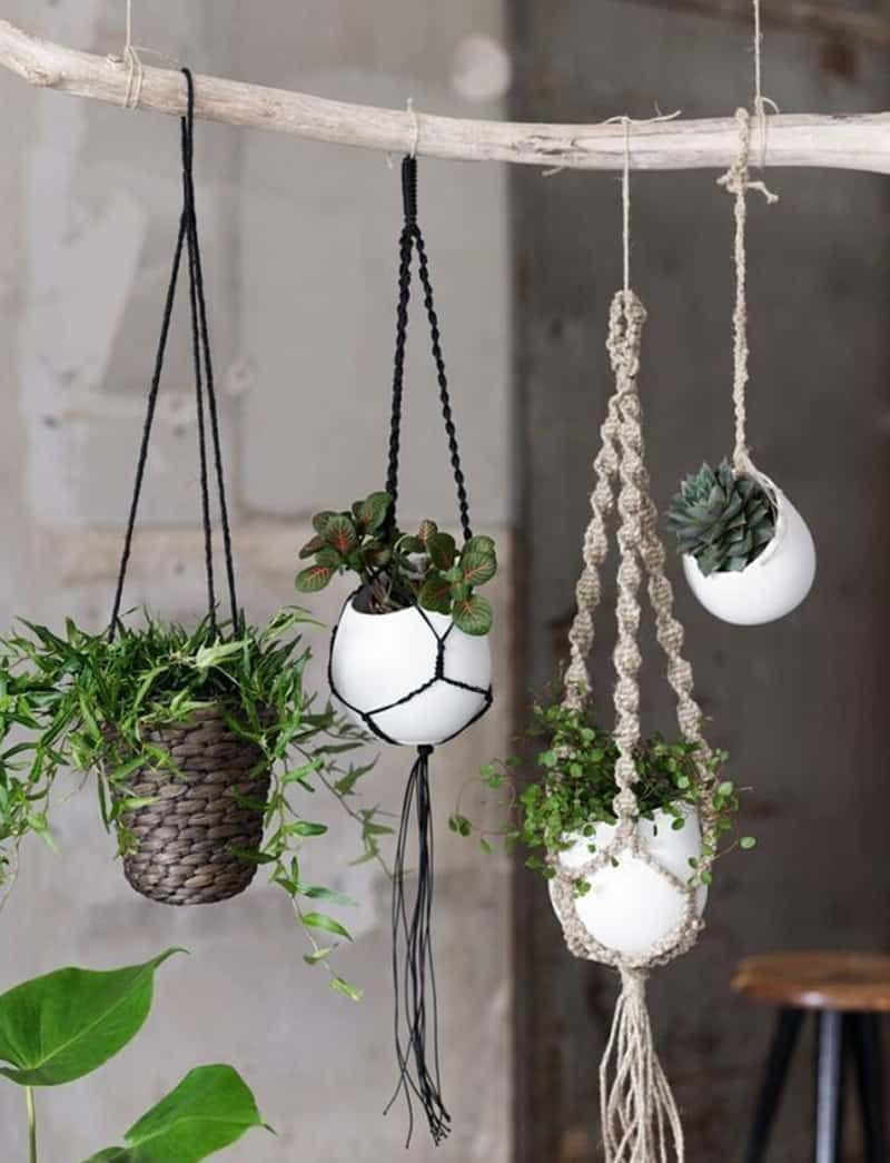macrame plant hanger patterns to embellish any rustic or. Black Bedroom Furniture Sets. Home Design Ideas