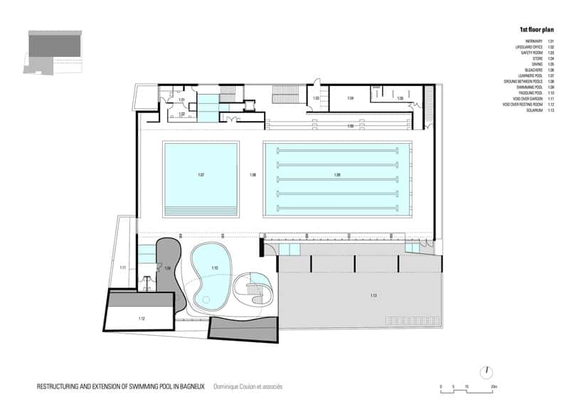 Swimming pool extension in bagneux paris for House plan with swimming pool