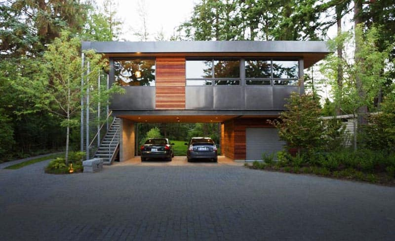 20 open garages accommodated to houses for Front garage house plans